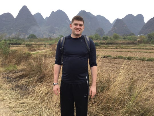 Stephen Johnson in Yangshuo, China in 2017. The 2006 Birmingham Groves graduate has lived in Guangzhou, China for the past five years, but is currently with his family in Southfield, unable to return.