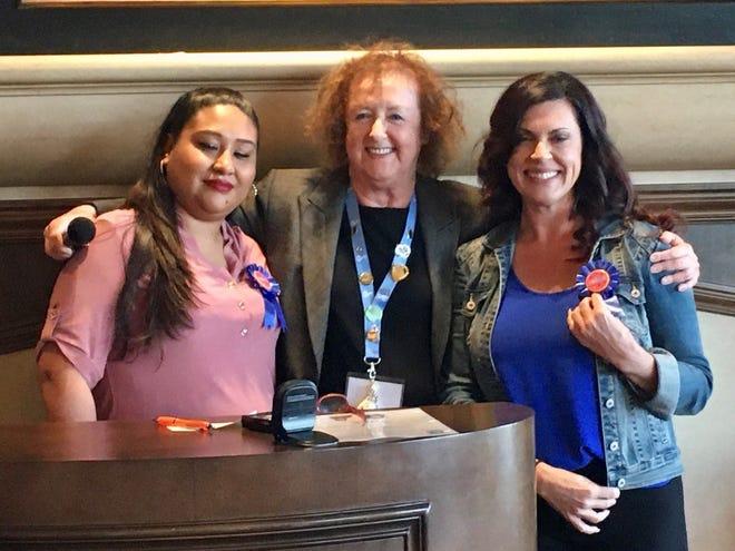Soroptimist International of Palm Desert President Doris Churry congratulates Sofia Lopez and Julie Hare at the Live Your Dream Awards on March 4, 2020.