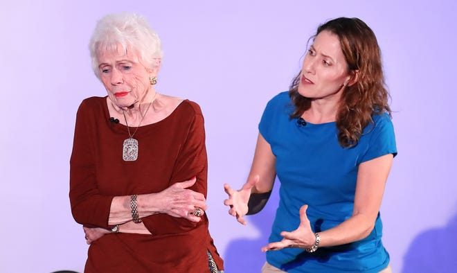 """Alden West as Mami and Gina Tleel as Bella engage in a difficult conversation in which Bella tries to unlock a family secret from Mami who has Alzheimer's in """"Broken Open,"""" a new play that premiered in Palm Desert on Friday, March 6, 2020."""