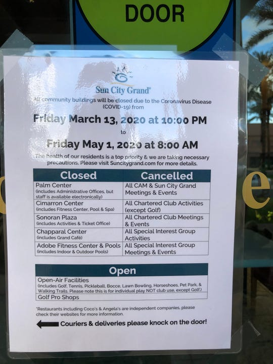Sun City Grand announced it would close all its community facilities from Friday through May 1 due to the spread of coronavirus.