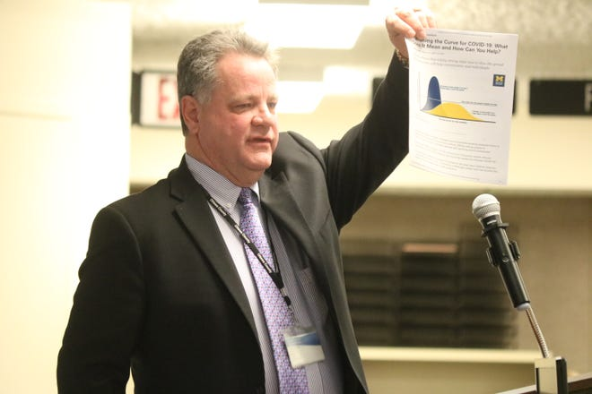 """Ottawa County Commissioner Mark Stahl discussed local efforts to help """"flatten the curve"""" of COVID-19 cases in an emergency meeting with dozens of other county leaders and department heads."""