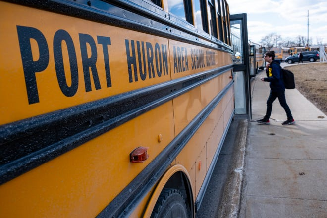 Students are released from Port Huron High School Friday, March 13, 2020. Late Thursday night, Gov. Gretchen Whitmer ordered all K-12 schools in Michigan be closed starting Monday, and to remain closed through April 5.