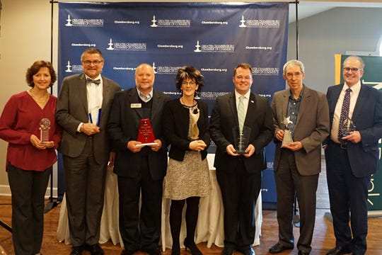 The recipients of the Greater Chambersburg Chamber of Commerce awards.