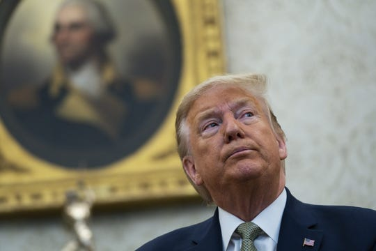 President Donald Trump speaks during a meeting with Irish Prime Minister Leo Varadkar in the Oval Office of the White House, Thursday, March 12, 2020, in Washington. (AP Photo/Evan Vucci)