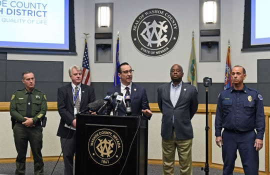 Washoe County  official gave a press conference on the Coronavirus at the Washoe County Administration Complex on Friday March 13, 2020.