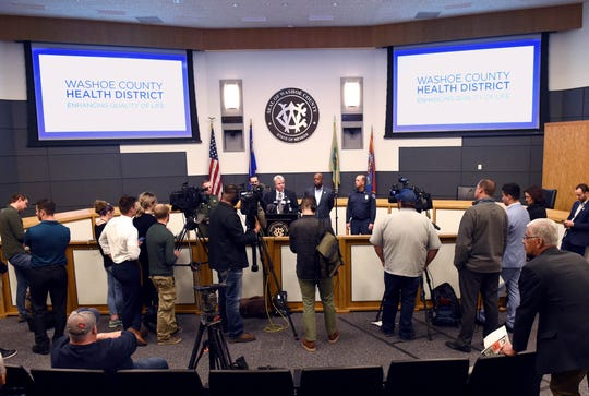 Washoe County officials hold a press conference on the Coronavirus at the Washoe County Administration Complex on Friday March 13, 2020.