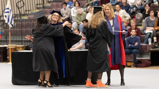 With in-person classes canceled for the rest of the school year, Earlham College seniors organized their own commencement ceremony on Friday, March 13, 2020, before leaving campus to finish the year from home.