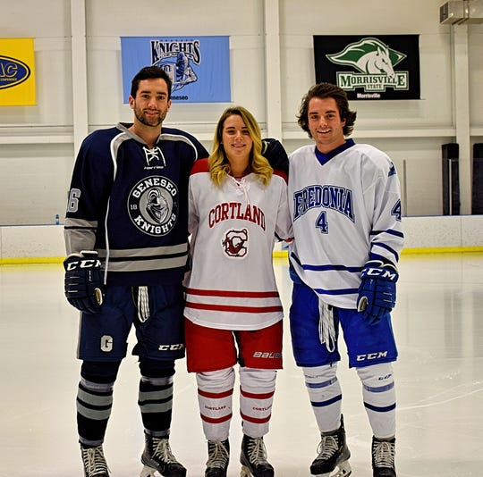 """The SUNY college hockey McCabes from Webster: left to right, Teddy,  Molly and Craig. Younger brother Rory is a junior at Webster Thomas. Each McCabe plays defense. Teddy and Rory saw their seasons cut short by coronavirus outbreak. """"It's a numb feeling,'' Teddy said."""