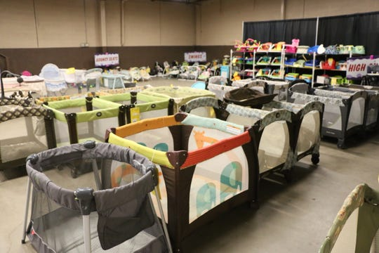 Crib section at the Just Between Friends sale.