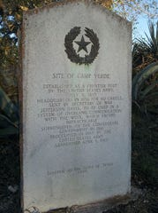 The State of Texas set a centennial marker at Camp Verde in Kerr County in 1936. The camp was created as headquarters of the short-lived US Camel Corps in 1856 and abandoned by the Army in 1869.