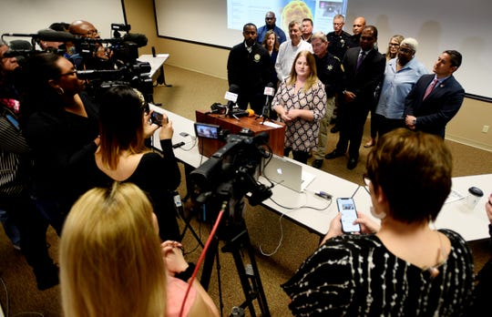 Dr. Martha Whyte, Regional Dir. La. Public Health, talks to the press after the Caddo's Unified Command Group's meeting at the Caddo Emergency Operations Center Friday morning, March 14, 2020.