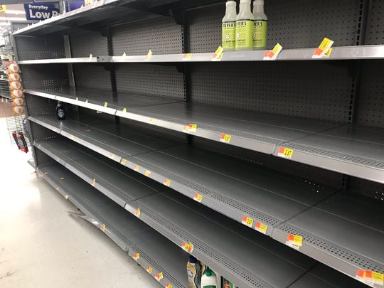 Cleaning supplies were a rare sight in Walmart on South Louise Avenue on Friday, March 13, 2020.