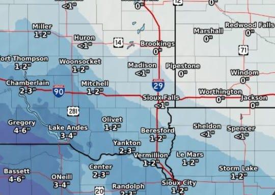 Snowfall estimates through Saturday.