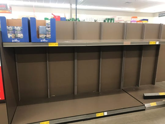 Aldi is low on paper products on Friday, March 13, 2020, as people stock up on items as fears of the coronavirus spread.