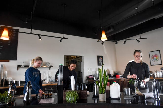Coffea implements changes due to covid-19 on Friday, March 13, 2020 in Sioux Falls. Employees are now required to work in different sections of the bar to decrease points of contact with one another.