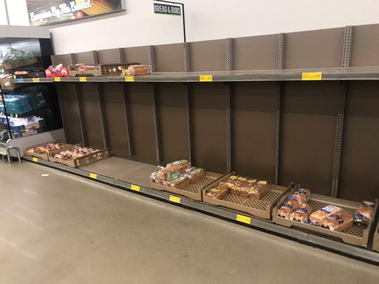 Aldi on South Louise Avenue is running low on bread on Friday, March 13, 2020.