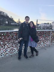 Argus Leader Content Coach Megan Raposa poses with her husband, Royal Sonsalla, during a family vacation to Germany and Austria. The trip took place during the novel coronavirus pandemic in March 2020.