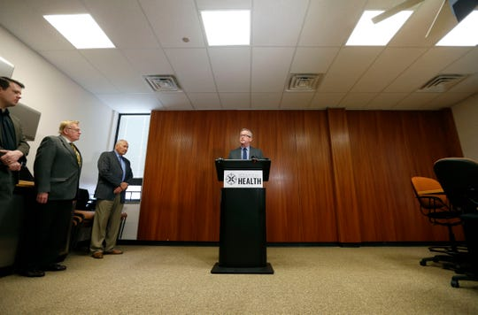 Springfield-Greene County Health Department Director Clay Goddard talks about the coronavirus situation in Greene County during a press conference on Friday, March 13, 2020.