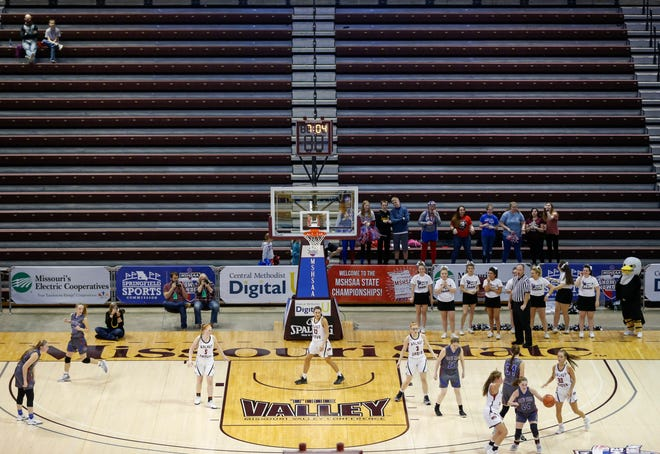 The crowd was sparse at the Missouri State High School Athletics Association Class 1,2, and 3 championships as officials take precautions to limit crowd size because of the COVID-19 virus.