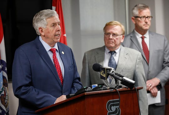 Missouri Governor Mike Parson speaks during a press conference where he announced there was a presumptive positive test for COVID-19 in Springfield on Thursday, March 12, 2020. This is the second confirmed test in Missouri.