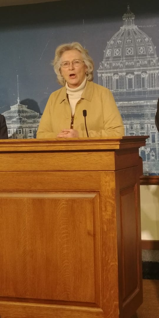 Minnesota Health Commissioner Jan Malcolm talks about precautions against the COVID-19 pandemic in the St. Paul Capitol building on Friday, March 13, 2020.