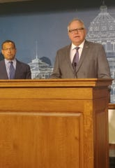 Minnesota Gov. Tim Walz declared a peacetime emergency to address the coronavirus on Friday, March 13, 2020, and he talked about it and other precautions in the St. Paul Capitol building.