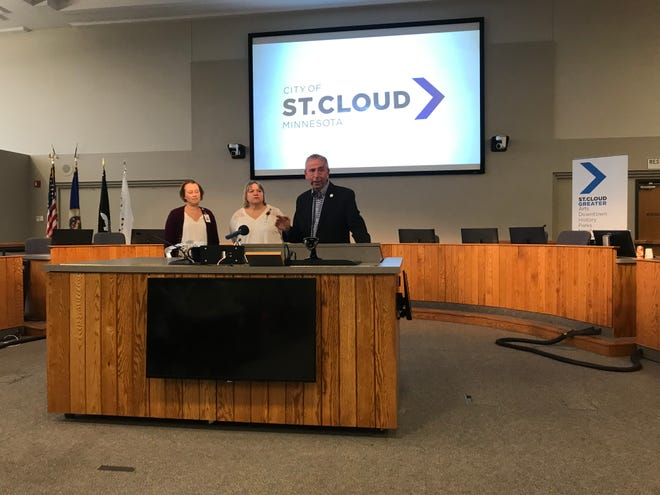St. Cloud Mayor Dave Kleis, Stearns County Emergency Manager Erin Tufte and Stearns County Public Health Director Renee Frauendeinst speak to reporters about the City of St. Cloud's response to the statewide emergency during the outbreak of COVID-19 at 3:30 p.m., March 13, 2020 in the St. Cloud City Hall Council Chamber.