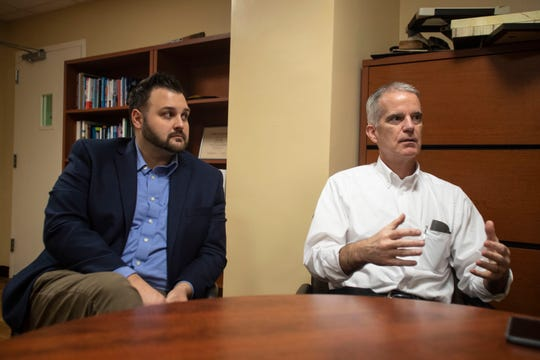Ryan Smith, chief clinical officer at Tallahassee Memorial HealthCare, left, and Dr. Dean Watson, chief innovation officer at Tallahassee Memorial HealthCare, detail the steps TMH is taking to prevent the spread of the coronavirus, Friday, March 13, 2020.