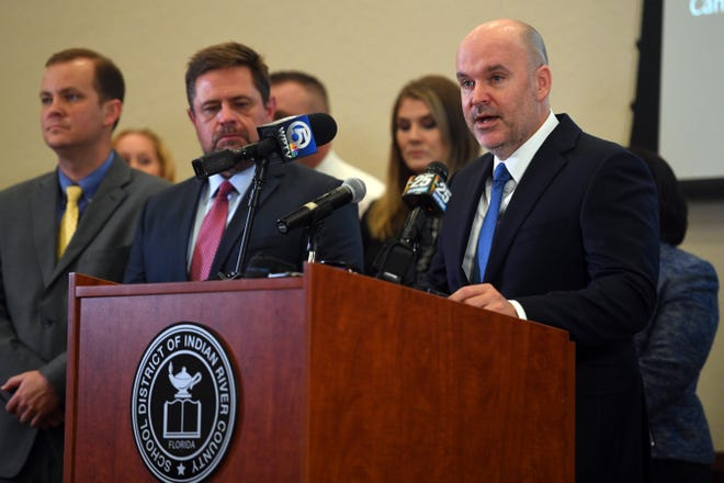 Indian River County School Superintendent David Moore addressed a news conference Friday, March 13, 2020, about steps and precautions the district is making in the wake of the spread of COVID-19  across the state. In case of a school shutdown, the district is ready to deploy devices to students to stay connected to teachers and assignments, Moore said.