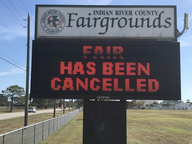 Coronavirus concerns: Information sign at the front of the Indian River County Fairgrounds along 66th Ave. is seeing on Friday, March 13, 2020, on what would have been the opening hours of the annual fair in Indian River County.