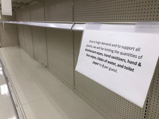 Toilet paper shelves, and shelves with disinfectants and cleaning products were bare March 13 at the Target store at 1901 George Dieter Drive in East El Paso.