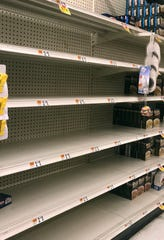 The shelves are nearly empty in the pasta section at the Stop & Shop in Mamaroneck on Friday afternoon March 13, 2020. Mamaroneck borders New Rochelle, a national hot spot for confirmed coronavirus cases.