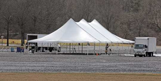 A tent that was being set up in the parking field at Anthony Wayne Recreation Area in Rockland County on Friday. The tent was no longer there on Saturday.