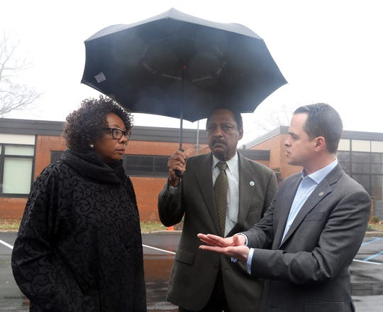 From left, East Ramapo Superintendent Deborah Wortham talks with Rockland Co. Legislator Toney L. Earl and Sen. David Carlucci about how the district will loose federal money by closing their schools during coronavirus pandemic at Spring Valley High School March 12, 2020.
