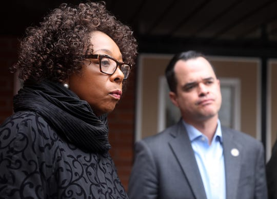From left, East Ramapo Superintendent Deborah Wortham talks with Sen. David Carlucci about how the district can loose federal money by closing their schools during coronavirus pandemic at Spring Valley High School March 12, 2020.