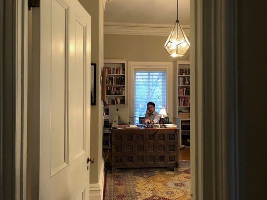 This handout photo released from the Twitter account of Canadian Prime Minister Justin Trudeau and taken on March 13, 2020, shows him in self-isolation working from home in Ottawa, Canada after his wife, Sophie Grégoire Trudeau, tested positive for coronavirus (COVI-19).
