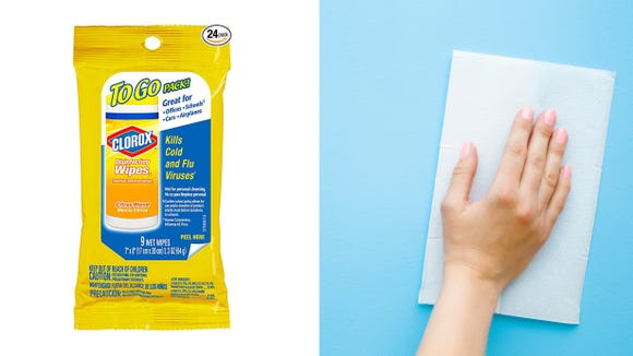Wipe down contaminated surfaces with disinfecting to-go wipes.