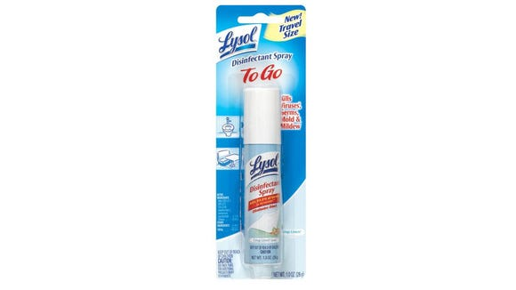 To-go disinfectant sprays like Lysol can help kill viruses and bacteria.