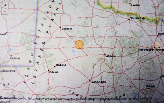 The orange circle shows the location of Friday's earthquake in Scurry County, northwest of Abilene.