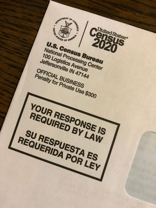 Form for the 2020 Census arrives in the mail, Saturday, March 14, 2020.