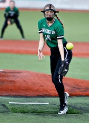 Huntington's Carly Dyer throws a pitch during Friday's exhibition game with Southeastern at VA Memorial Stadium.