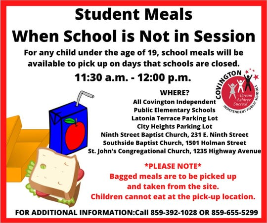 Covington Independent will offer meals for pick up to students.