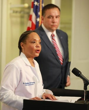 Columbus City Health Commissioner Dr. Mysheika Roberts and Mayor Andrew Ginther, anounce a state of emergency in Columbus due to novel Coronavirus. They spoke Friday, March 13, 2020, at the Columbus Public Health Building.
