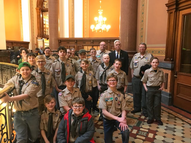State Rep. Stan Gustafson met with members of Norwalk Boy Scout Troop 30 and Scoutmaster David Lester and the state Capitol.