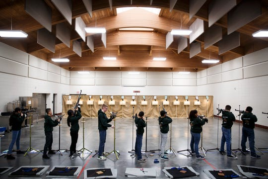 North High Students shoot during the American Legion of Iowa Junior Shooting Sports Championship Tournament at Camp Dodge on Saturday, March 14, 2020, in Johnston.