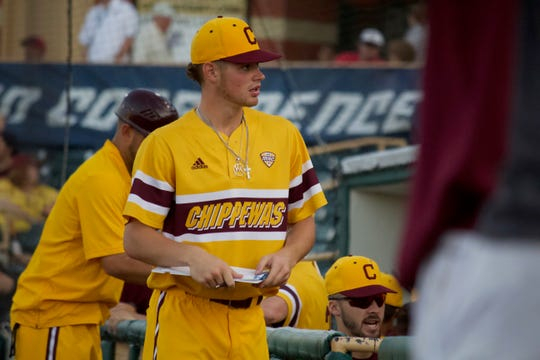 Central Michigan pitcher Cameron Brown gets ready to take notes during the MAC tournament on May 25, 2019, in Avon, Ohio.