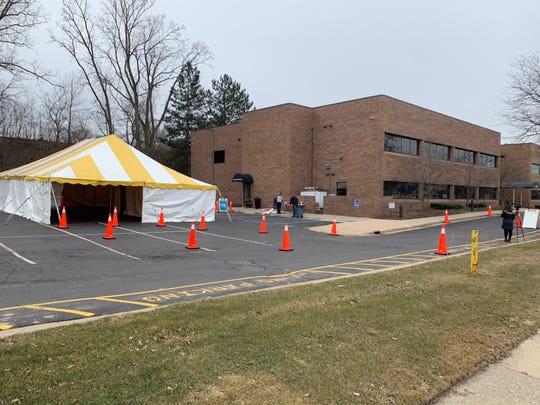 Spectrum Health in Grand Rapids opened a traversal coronavirus testing center on March 14, 2020.
