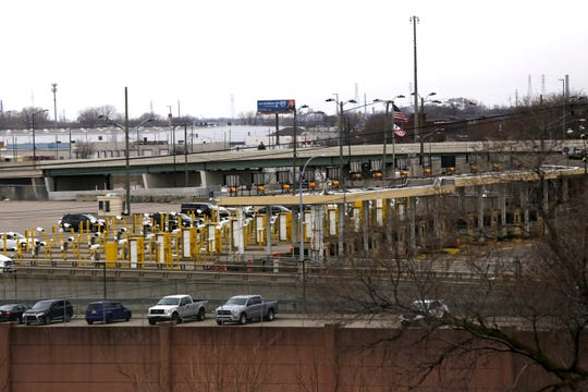 Light traffic is seen from Detroit at the American border crossing over the Ambassador Bridge from Canada on Saturday, March 14, 2020. Jessica J. Trevino / Special to the Detroit Free Press