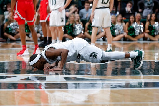 "Cassius Winston gave the traditional farewell to Breslin Center last Sunday, planting a kiss on the ""S"" logo at midcourt."