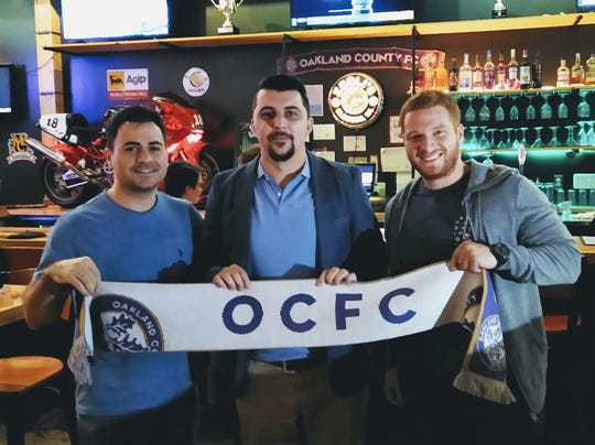 Oakland County FC co-owner Theo Foutris, left; joins new coach Vinnie Vasilevski and fellow co-owner Nick Morana at Zeoli's Modern Italian in Clawson.